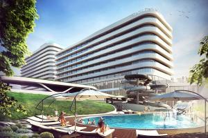 Basen z iluzją nieskończoności na dachu nadmorskiego hotelu
