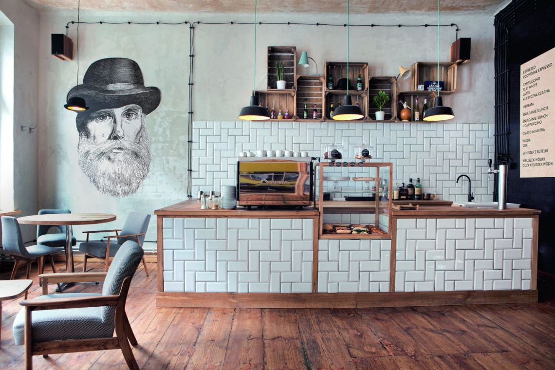 Minister Café to nowoczesne wnętrze z nutą retro