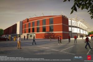 Nowy stadion Widzewa projektu biura Ferdzynowie z kamieniem węgielnym