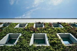 Pionowy ogród na elewacji przedwojennej willi od FAAB Architektura