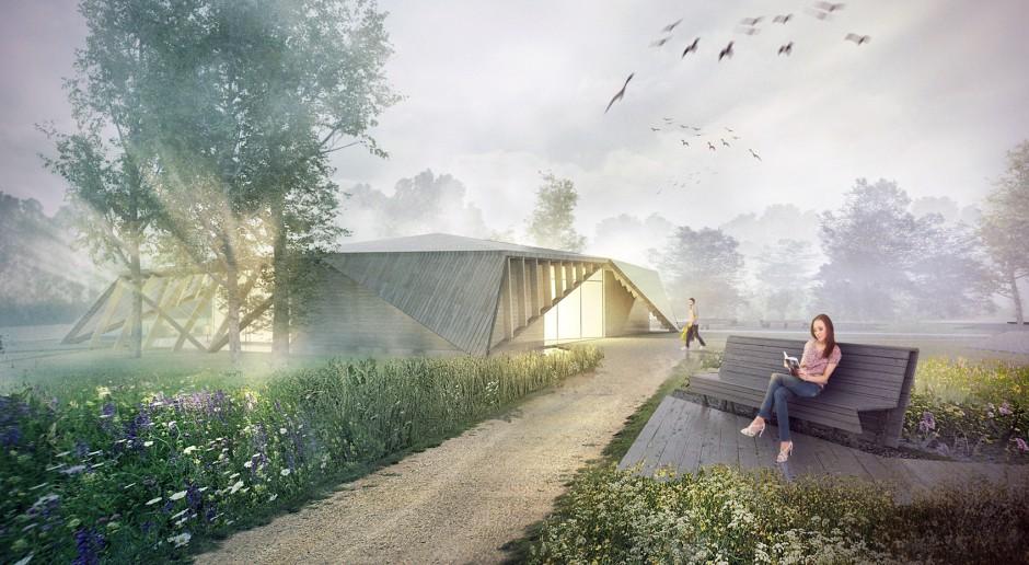 Pomysł pracowni Meteor Architects na pawilon edukacyjny nad Wisłą