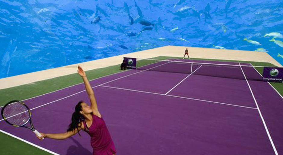 Kort tenisowy zanurzony pod wodą