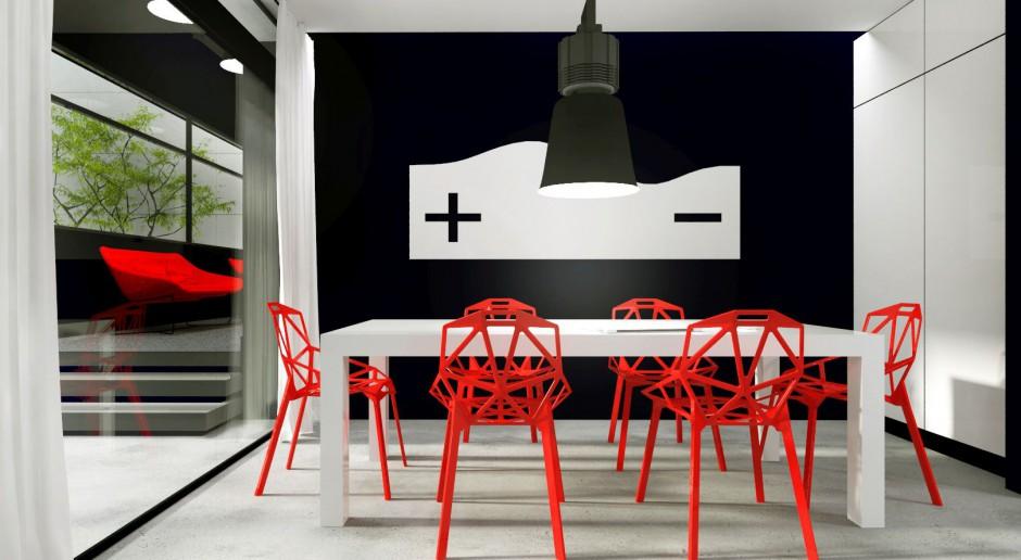 Minimalistyczne biuro z czerwonym akcentem od Gradomska & Architekci
