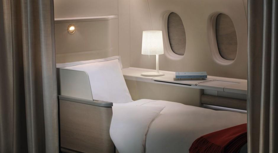 Designerska kabina Air France - komfort snu jak w najlepszych hotelach