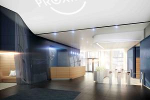Lobby biurowca Proximo od pracowni Pininfarina