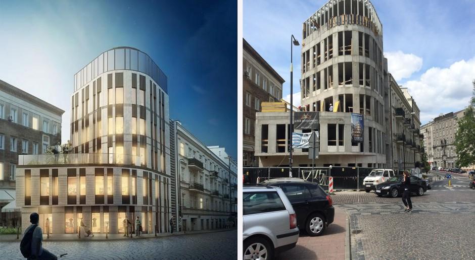 Szkło, piaskowiec, granit - powstaje biurowiec projektu Grupa 5 Architekci