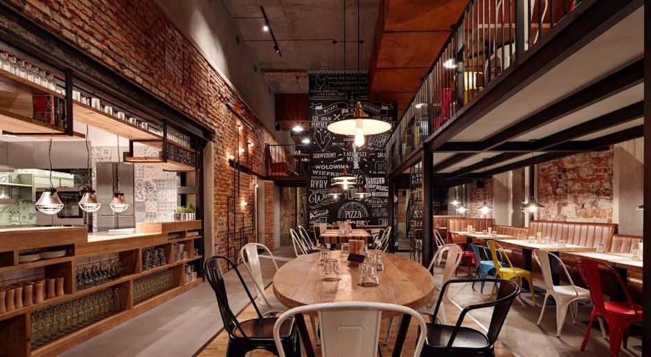 Industrialne i loftowe wnętrze restauracji Pino w Krakowie