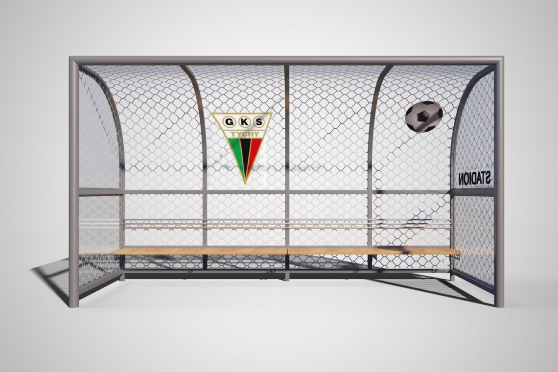 Wiaty przystankowe w kształcie bramek piłkarskich przy stadionie w Tychach