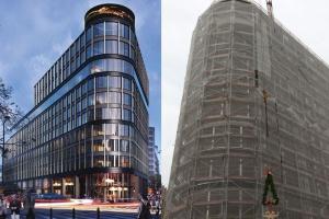 Biurowiec Astoria w Warszawie, projektu Epstein, osiągnął stan surowy