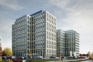 Modernistyczny Symetris Business Park z wiechą