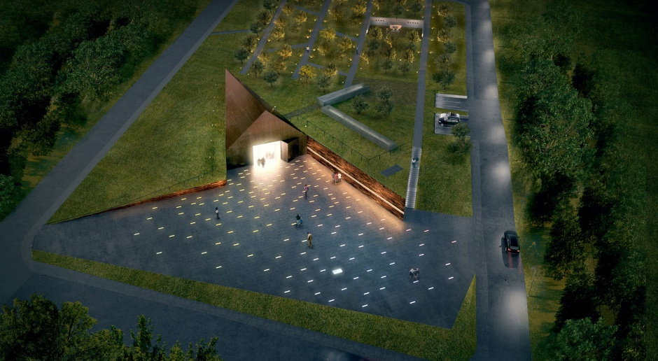 Zieleń i corten na dachu muzeum w Markowej