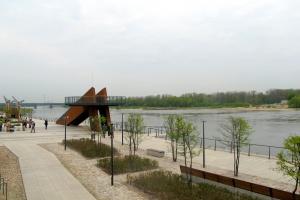 Budowa warszawskich bulwarów z lotu ptaka