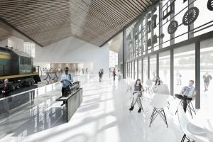 Taki pomysł na muzeum dla PKP mieli JAZ+Architekci