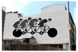 Cykliści - nowy mural na mapie warszawskiej Woli