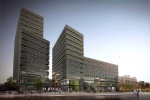 Największy kompleks biurowy na Litwie - zobaczmy go od strony parkingu