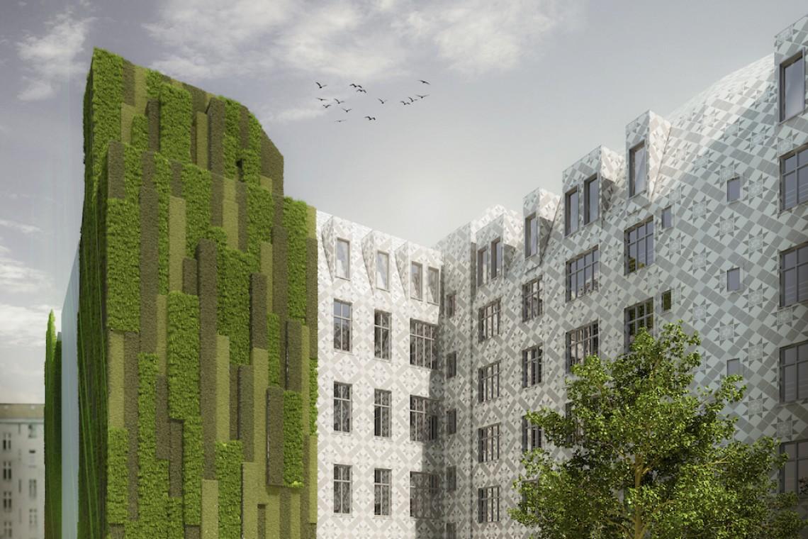 Fasada jak trawa, może być zielona