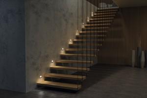 Lustrzane światło na schodach