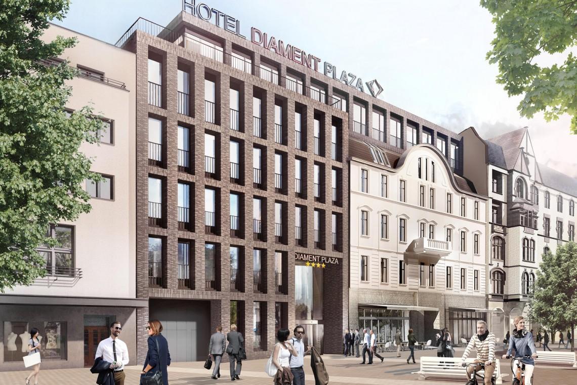 Hotel Diament Plaza Katowice szkicu Konior Studio powoli rośnie