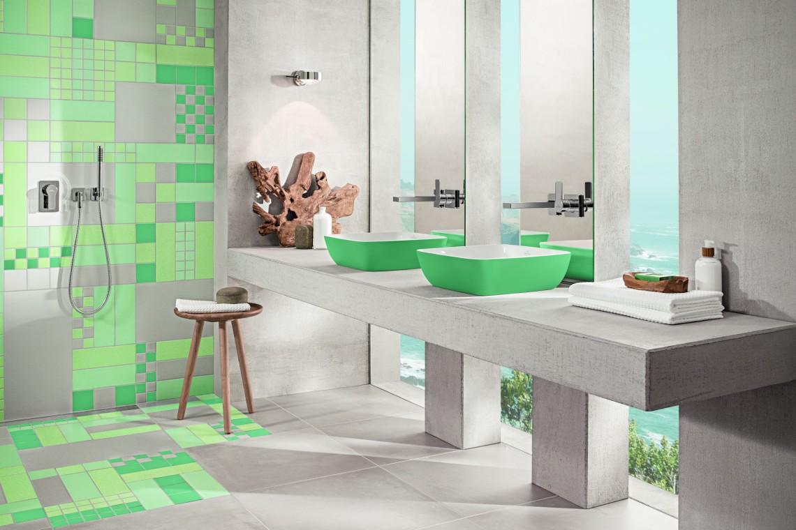 Morska zieleń w łazienkach. Banał staje się awangardą