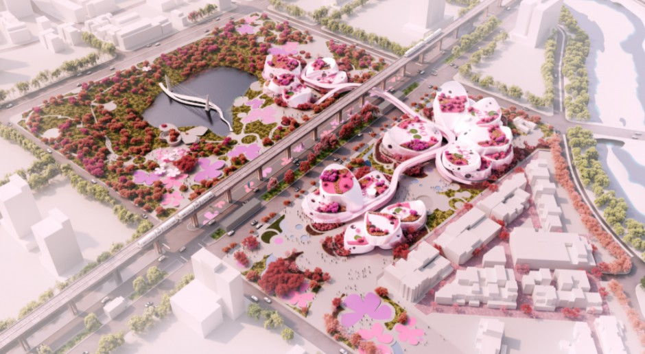 Choć projekt nie wygrał, robi niesamowite wrażenie. Oto wiśniowy pokój dla miasta szkicu MVRDV