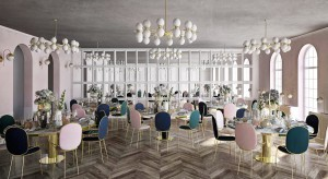 Sala bankietowa niczym scenografia. Pastelowy projekt od Bold Design