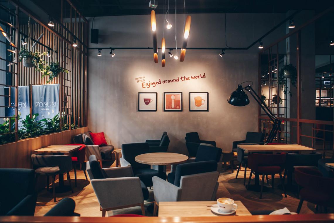 Tylko kawa POMORZE - miedziana Costa Coffee w nadmorskiej lokalizacji