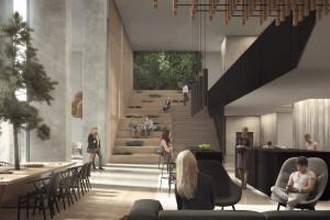 Lobby biurowca jak szwedzki letni dom. Oto projekt pracowni Henning Larsen dla Skanska