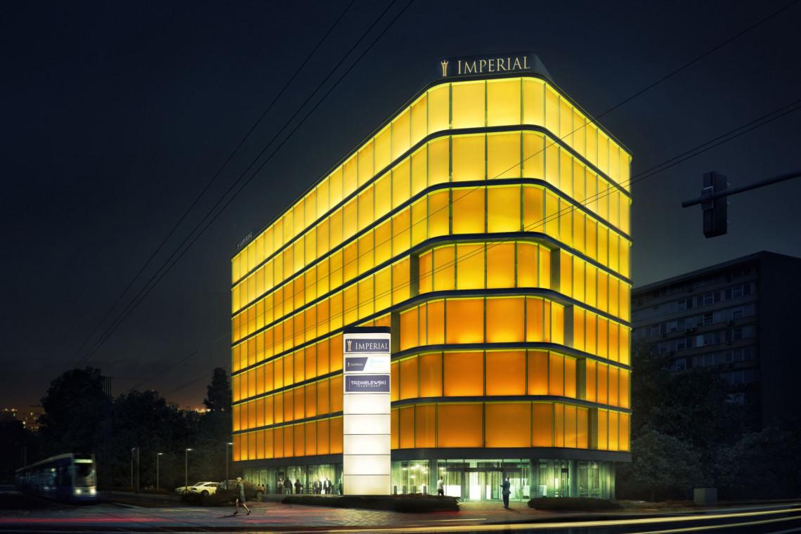 Iluminacja Imperial Business Center. Jedyny taki biurowiec w Krakowie, drugi w Polsce
