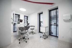 Futurystyczne wnętrze gabinetu stomatologicznego