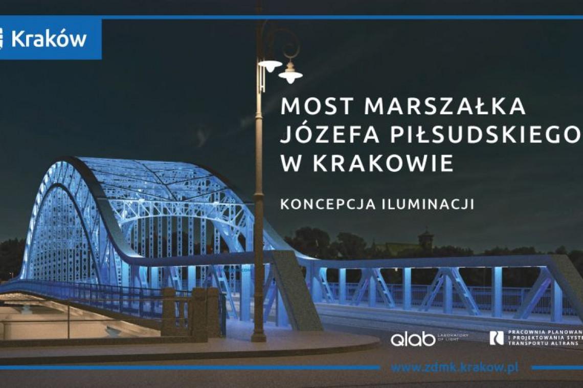 Tak będzie wyglądała iluminacja mostu Piłsudskiego w Krakowie