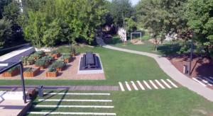 Oto park Stacja Wisła w Krakowie. To projekt studenta architektury krajobrazu na Politechnice Krakowskiej