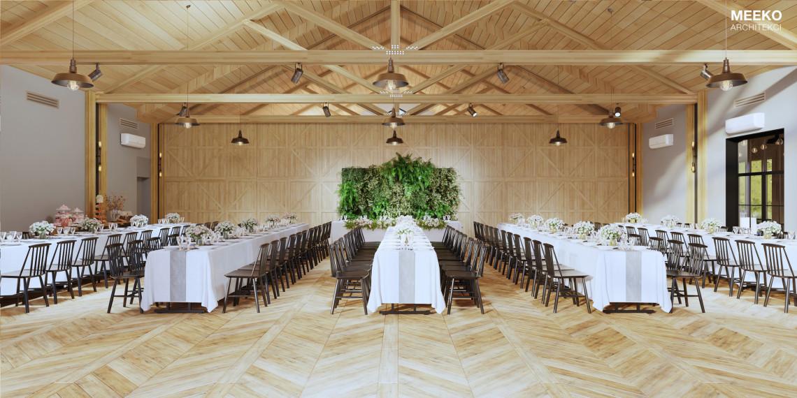 Czas kiczowatych sal weselnych mija. Projekt Lubaszka spod kreski MEEKO Architekci jest tego potwierdzeniem