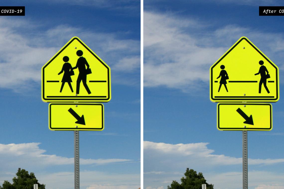 Kolekcja koncepcyjnych znaków drogowych na czasy pandemii