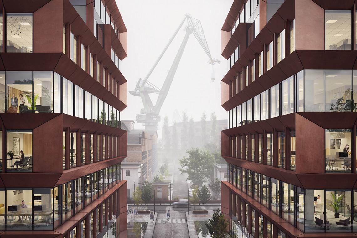 Trwają prace na budowie Palio Office Park. To nowa przestrzeń do pracy i rekreacji na terenach Stoczni Gdańskiej