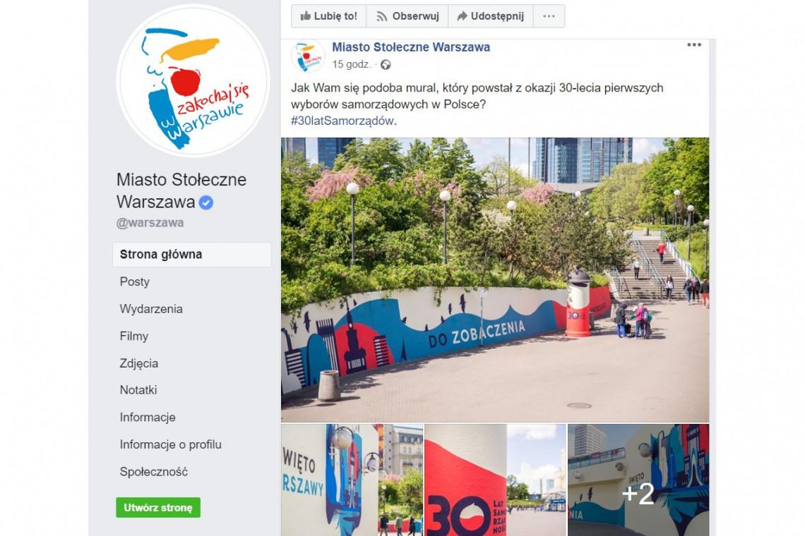 Mural z okazji 30-lecia pierwszych wyborów samorządowych w Polsce