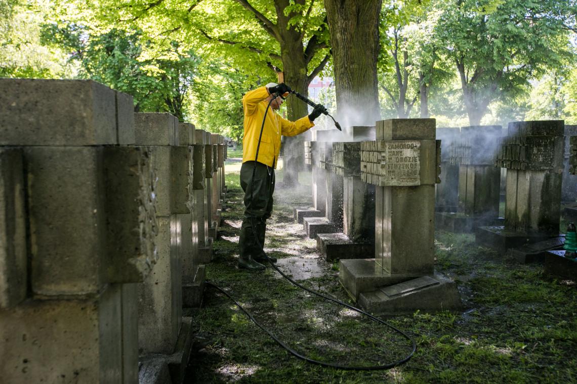 """Trwają prace porządkowe na Cmentarzu Pomniku Bohaterów """"Zaspa"""" w Gdańsku"""