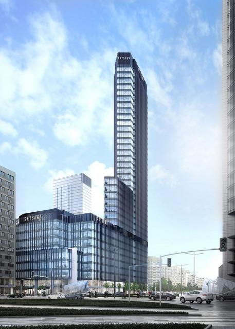 Zmienia się skyline Warszawy. Pierwszy budynek kompleksu Skysawa z wiechą