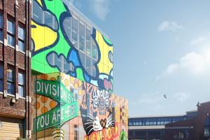 MVRDV znowu zaskakują. To projekt biurowca z muralem na szklanych elewacjach