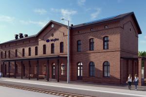 Fotowoltaika na dachu budynku z 1871 roku. To jeden z elementów przebudowy historycznego dworca