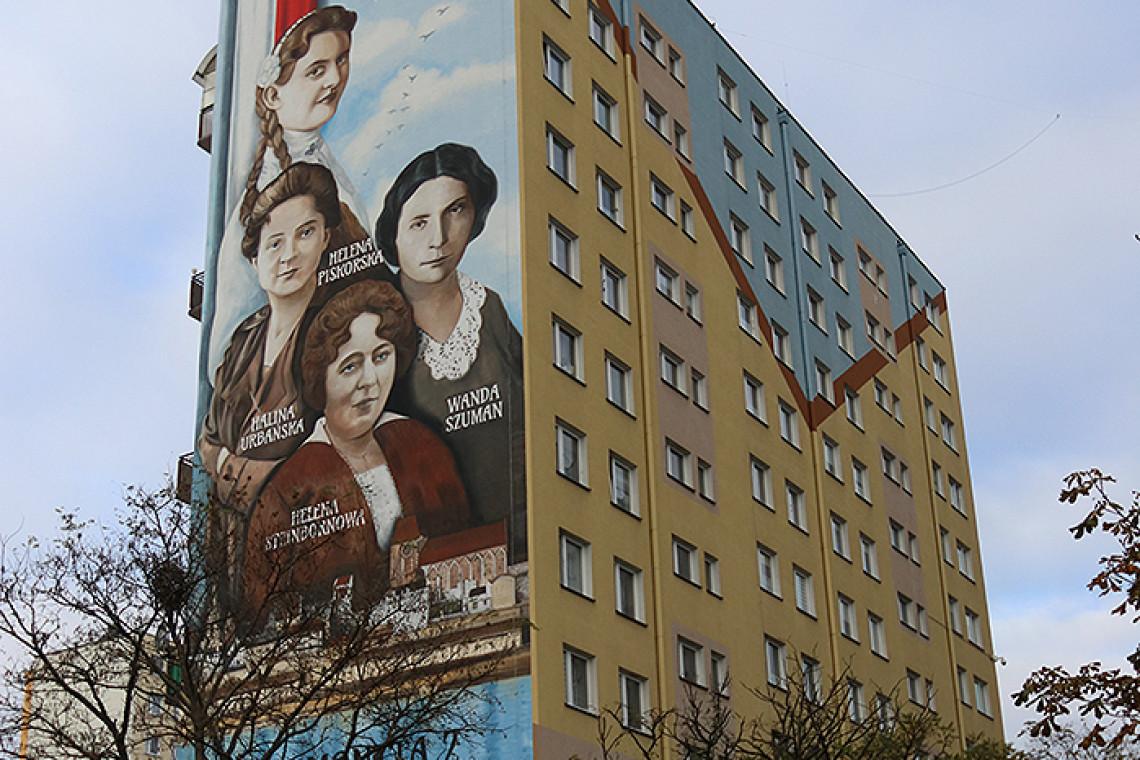 Mural upamiętniający kobiety toruńskiej niepodległości