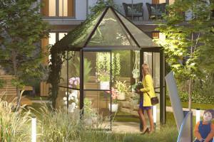 Szklarnie na zielonym patio. Nowoczesny i innowacyjny projekt