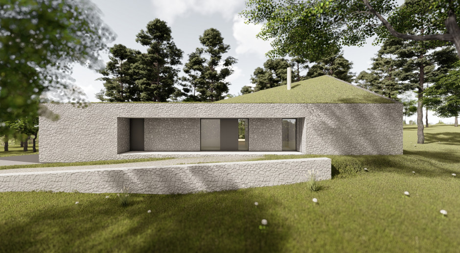 Zielony dach i ściany z wapienia. Nowy, niezwykły projekt pracowni Toprojekt