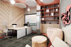 Kolor, forma i… książki. Projekt biura w budynku starej szwalni