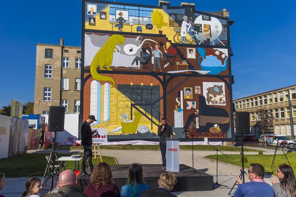 Konkursowy mural w Łodzi zyskał nowe życie