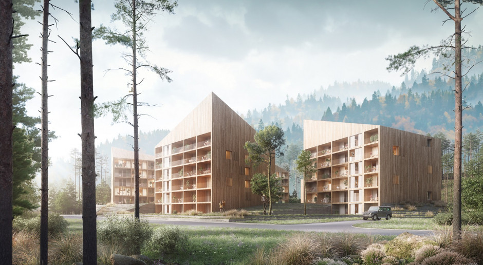 Kompleks hotelowy inspirowany górskimi chatami. W Wiśle powstanie nowa bryła szkicu Franta Group