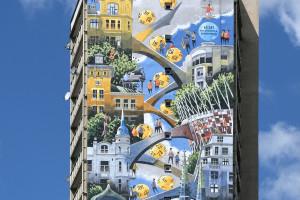 Tytus Brzozowski z najnowszym muralem na warszawskiej Pradze. Motywem przewodnim... Totalizator Sportowy