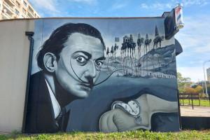Salvador Dali na łódzkim muralu