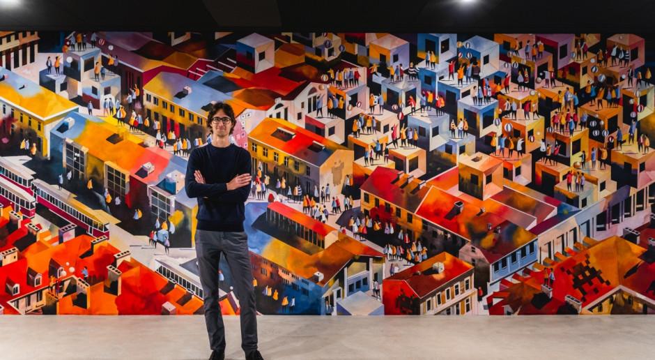 Mural autorstwa Tytusa Brzozowskiego we wnętrzach Fabryki Norblina